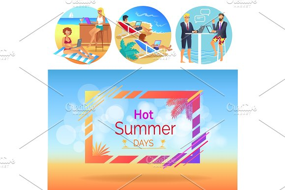 Hot Summer Days Workers Set Vector Illustration