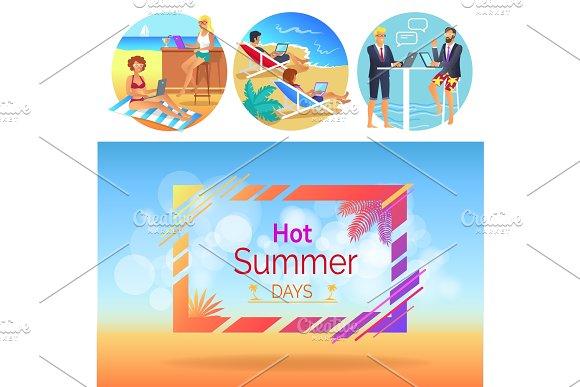 Hot Summer Days Workers Set Vector Illustration