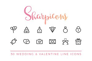 Wedding & Valentine Line Icons