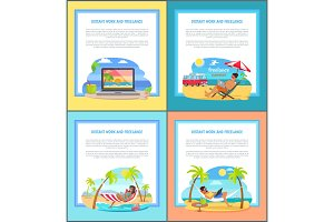 Distant Work and Freelance Promotional Posters Set