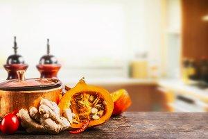 Pumpkin on kitchen desk table