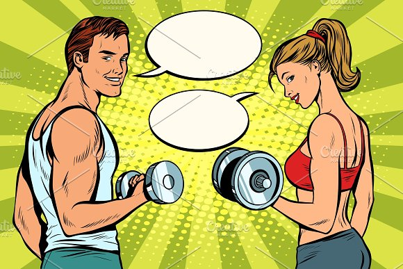 Man And Woman In The Gym With Dumbbells