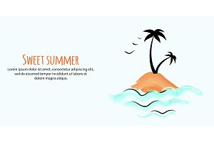 Sweet Summer Banner with Small Tropical Island