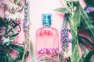 Floral Perfume bottle with flowers