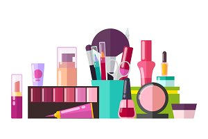 Set of Various Cosmetic Stuff Vector Illustration