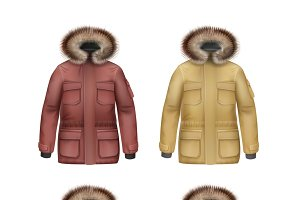 Set of winter coats