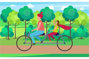 Mother and Daughter on Tandem in Park Illustration