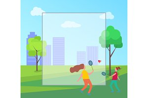 Mother and Daughter Playing Badminton Illustration