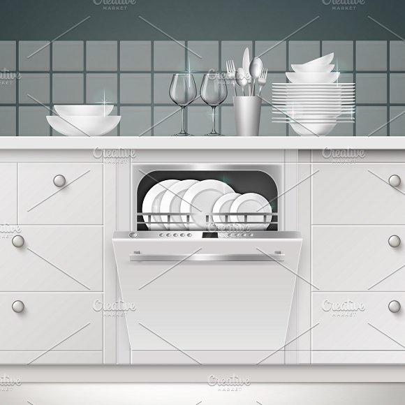 Illustration Of Build-in Dishwasher