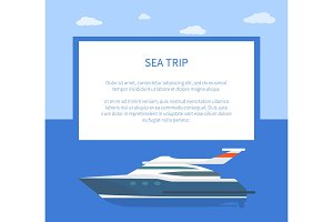 Sea Trip Colorful Banner, Vector Illustration