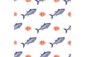 Fish and Crab Seamless Pattern Vector Illustration