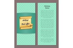 Holidays Sale Poster with Golden Scroll Best Offer