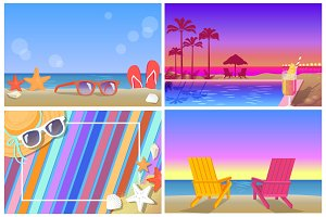 Summer Compositions and Landscapes Banners Set