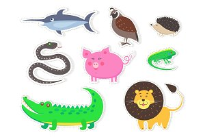 Wild Bird, Animals and Fish Isolated Stickers