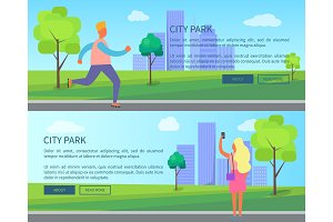 City Park Set of Posters Depicting Male and Female