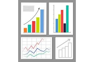 Set of Four Charts, Colorful Vector Illustration