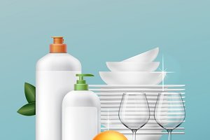 Clean dishes with dishwashing liquid