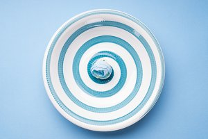 Blue pastel ceramic dish with spiral