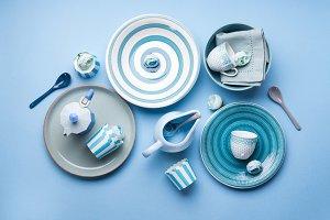 Blue pastel ceramic tableware crockery