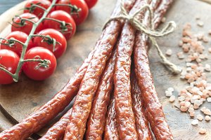 Smoked kabanosy sausages
