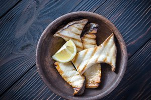 Grilled king oyster mushrooms