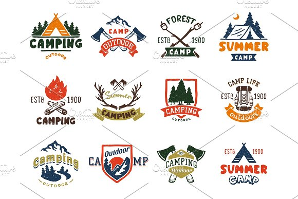 Set Of Vintage Woods Camp Badges And Travel Logo Hand Drawn Emblems Nature Mountain Camp Outdoor Vector Illustration