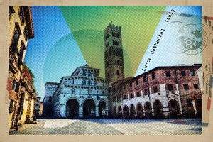 Lucca - retro postcard