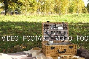 Wooden basket for picnic.
