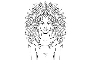 Woman in Indian headdress coloring vector