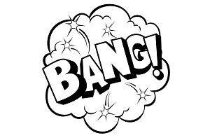 Bang word comic book coloring vector illustration