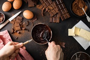 Ingredients for cooking chocolate