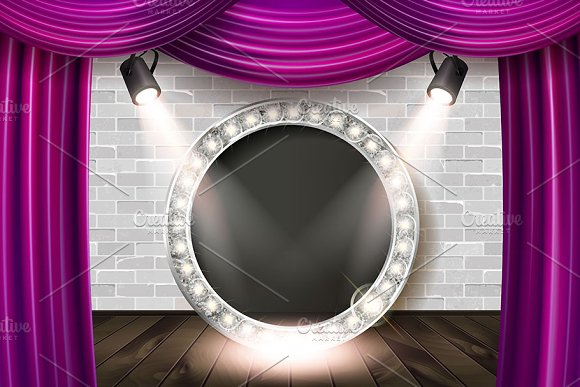 Wooden Stage With Color Curtain