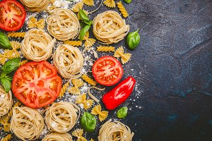 Pasta and vegetables in flour