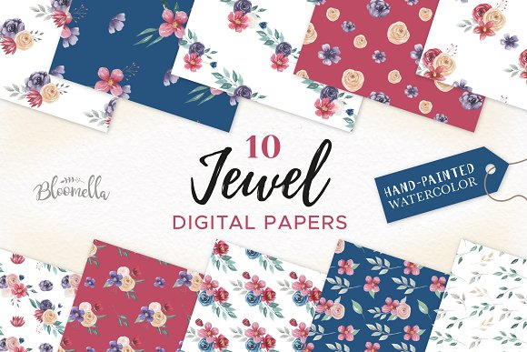 Jewel Watercolor Flower Patterns Set