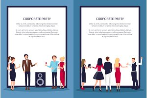 Corporate Party at Club on Vector Illustration