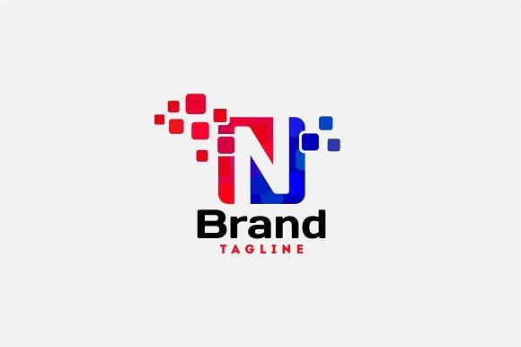 Letter N Pixel Logo