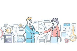 Business partnership - modern flat design style colorful illustration
