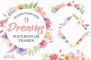 Dreams Watercolor Frames Feather Set