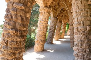 Stone columns in Park Guell
