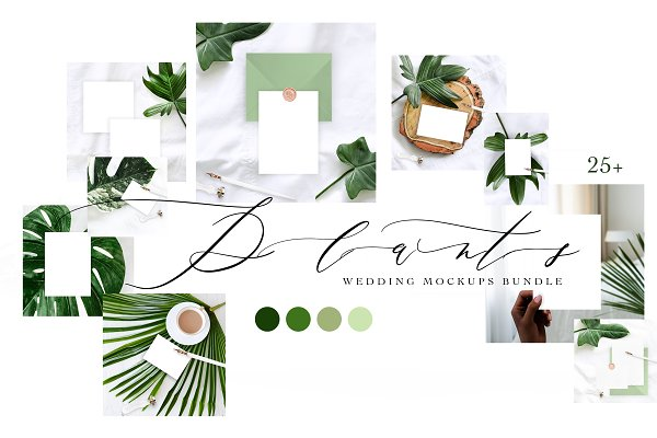 Product Mockups: OntheMoon - PLANTS. WEDDING MOCKUPS BUNDLE.