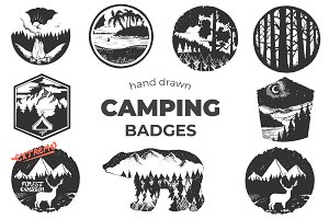 Hand Drawn Camping Badges