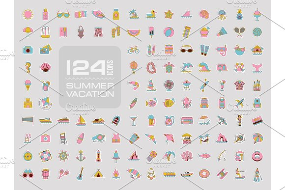 Summer Icon Set Summertime Vacation