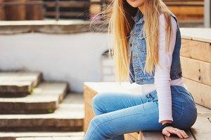 beautiful blonde girl on the street
