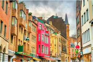 Buildings in the old town of Aachen, Germany