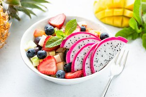 Thai fruit salad with pitaya