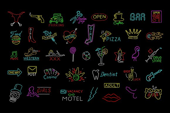 Neon signs collection  in Illustrations - product preview 1