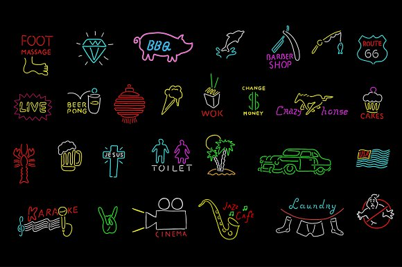 Neon signs collection  in Illustrations - product preview 2