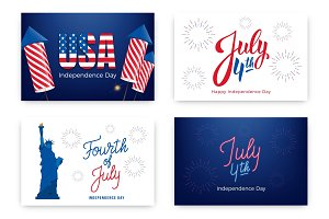 Fourth of July. Holiday banners for USA Independence Day. Set of modern cards, invitations, web banners for July 4th