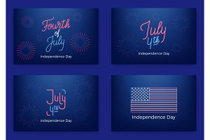 July 4th. Holiday banners for USA Independence Day. Set of modern cards, invitations, web banners for July Fourth