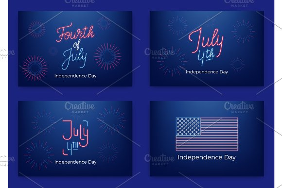 July 4th Holiday Banners For USA Independence Day Set Of Modern Cards Invitations Web Banners For July Fourth